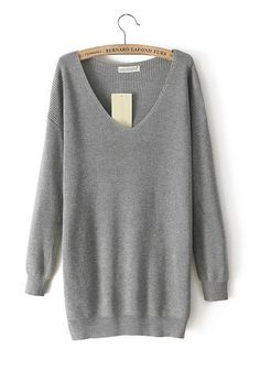 Grey Plain V-neck Long Sleeve Cotton Blend Sweater I love sweaters! Mode Style, Style Me, Loose Knit Sweaters, Oversized Sweaters, Cheap Sweaters, Mode Plus, Sweater Weather, Comfy Sweater, Grey Sweater
