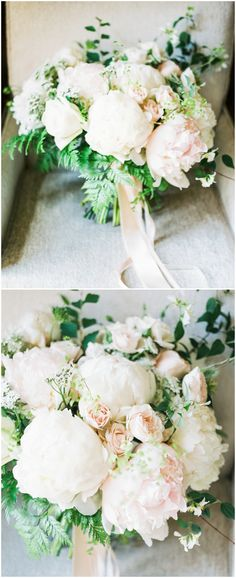 Bridal bouquet, lush white peonies, peony bouquet, pink roses // b. schwartz photography