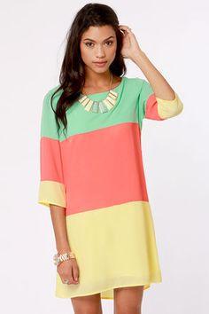 Citrus Grove Coral Color Block Shift Dress at LuLus.com!