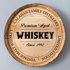 Shop for personalized family distillery whiskey oak barrel wall sign. This classy sign makes a statement in your home bar, basement or man cave. Made from authentic oak whiskey barrels. Aged Whiskey, Oldest Whiskey, Personalized Whiskey Barrel, Whiskey Lounge, Whiskey Room, Basement Bar Designs, Basement Ideas, Garage Ideas, Bourbon Barrel