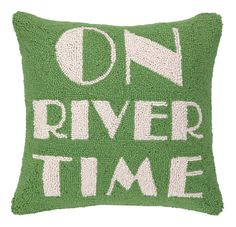 On River Time Hook Wool Throw Pillow