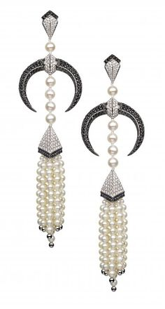 Diamond and Cultured Pearl Art Deco Earrings.