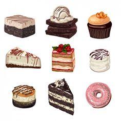 New Cake Illustration Vector Cupcake 38 Ideas Cake Drawing, Food Drawing, Bolo Tiramisu, Desserts Drawing, Dessert Illustration, Watercolor Food, Good Enough To Eat, Food Design, Bakery Design