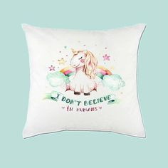 I dont believe in humans Magical Unicorn Cushion. Add a little MAGIC into your life. Perfect as a gift to yourself or someone else.. ;) Printed onto a Cushion cover with Sublimation Ink. Sublimation Ink is an ink that turns from liquid to gas at high temperature. It is sealed