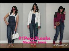 Veja três maneiras diferentes de usar macacão jardineira jeans! #1Peça3Looks #Jeans #Overrals
