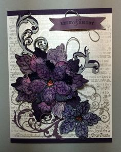 Sparkling Poinsettia stamp and die, Sparkling Poinsettia Notes background stamp all by Heartfelt Creations, Tumbling Flourish die by Tattered Lace, sentiment by Stampin' Up! ~ purples & silver