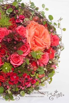 Hot Summer Bridal Bouquet, Rustic Bridal Flowers, pink, red and coral roses accompanied by sweet willam and hipericum. www.joannamarriottflowers.co.uk