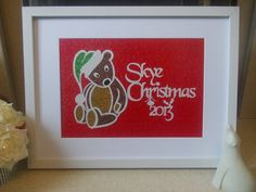 Original, hand drawn, personalised 'Christmas 2013' bear papercut. Backed with glitter card. By Nina Byers.
