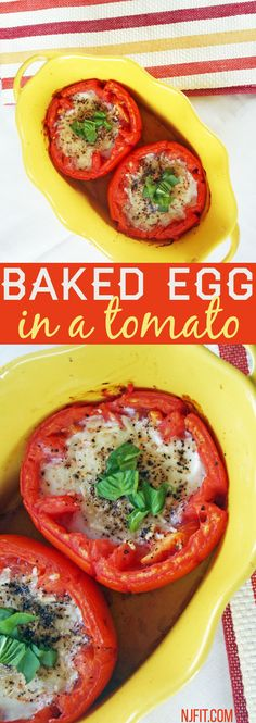 2 large tomatoes 2 tbsp of parmesan cheese 2 tbsp sliced basil 2 eggs salt & pepper to taste Directions: preheat oven 450 cut top of tomato off & gently scoop out as much as you can with a spoon- crack egg & drop into hollowed out tomato season with salt & pepper & top with cheese bake for 20 mins remove from the oven and top with freshly chopped basil (serves 2 people, if you want single serving divide recipe in half)