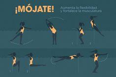 Los ejercicios en el agua aumentan la flexibilidad y fortalecen la musculatura. #decathlon #infografía