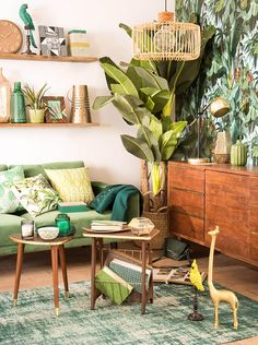 Ideas wallpaper living room green patterns for 2019 Mid Century Modern Living Room, Living Room Modern, Living Room Interior, Living Room Designs, Living Room Decor, Living Rooms, Small Living, Apartment Interior, Apartment Ideas