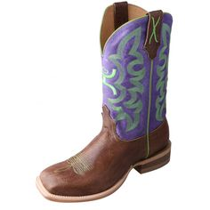 Twisted X Women's Purple/Green Hooey Boots. Twisted X is proud to offer our Hooey Footwear Collection. Hooey is a young, dynamic brand that has come on the scene bigger than Dallas. Everyone from kiddos to moms and grandpas dig the Hooey logo and look. Our Hooey styles are as cowboy...