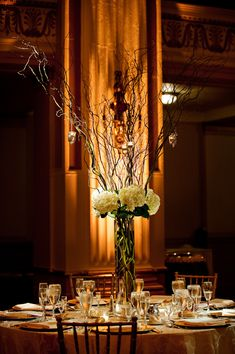 Tall Centerpieces; Rustic and Romantic White Hydrangea with Curly Willow Branches