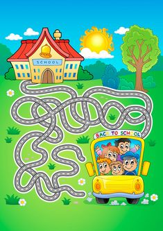 Maze 7 with school bus - vector illustration , Printable Preschool Worksheets, Preschool Curriculum, Kindergarten, Maze Drawing, Maternelle Grande Section, Maze Worksheet, Mazes For Kids, File Folder Activities, Maze Game