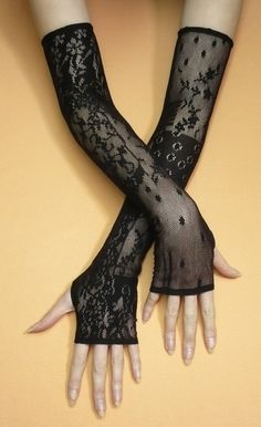 Long Gothic Gloves Black Stretchy Lace Armwarmers by estylissimo  #goth #gothic #gothic fashion
