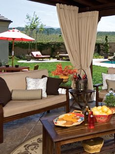 Summer in the SCV promises climbing temperatures and glaring sunlight. In addition to minimizing the heat, draperies add a touch of romance to even the simplest patio. With a generous variety of Sunbrella fabrics, you can match your outdoor draperies with indoor decor to create a design flow. Call Tami Smight Interiors for your custom patio draperies. She knows what the best-dressed windows are wearing!  {Tami Smight Interiors 430-0127}