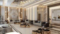 Neoclassic Ground Floor Reception in Kuwait City on Behance Home Room Design, Interior Design Living Room, Living Room Decor, Foyer Design, Mansion Interior, Apartment Interior, Neoclassical Interior, House Outside Design, Elegant Living Room