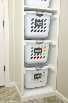 DIY Laundry Basket Organizer is part of Basket Organization Bedroom - DIY Laundry Basket Organizer Organize your home, or small spaces Tips, tricks and easy DIY ideas for storage on a budget Laundry Basket Organization, Laundry Room Organization, Laundry Room Design, Laundry Organizer, Storage Organization, Laundry Storage, Garage Storage, Makeup Organization, Diy Organizer