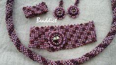 Purple bead woven set. Designed and beaded by Beaddict. Seed beads, Swarovski crystal.