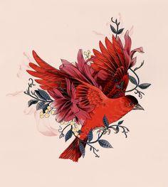 Fig. 2. Blooming Bird #illustration #bird #birdart by La Scarlatte