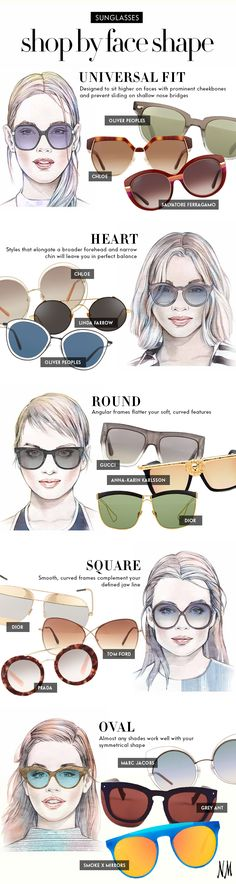 Oliver Peoples, Dior, Tom Ford, & Prada for your face shape