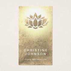 faux gold foil lotus flower yoga instructor business card - yoga health design namaste mind body spirit