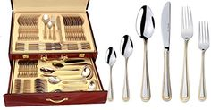 Service for 12 Superior Home Collection Silverware Set-84 Piece Elegant Premium Silverware Flatware Set 18//10 304 Surgical Stainless Steel with Silver and Gold Plated Accents