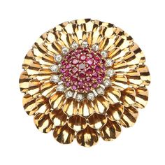 Cartier Ruby Diamond Brooch | From a unique collection of vintage brooches at https://www.1stdibs.com/jewelry/brooches/brooches/