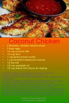 Coconut Chicken, Coconut Milk, Panko Bread Crumbs, Sweet Chili, Large Egg, Meals, Google, Recipes, Food