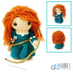 Princess Merida, from Brave. Crochet Amigurumi Plush Doll - Includes Bow and Arrows. $50.00, via Etsy.    I am sooooo going to try and make her on my own! Hello Christmas for the two little loves in my life!