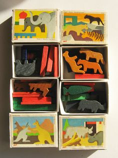 Vintage German Toys - Wooden Animal Miniatures.