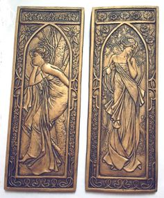 Art Nouveau style plaques 1 pair silver or rich by Bellacraftworks