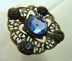Antique Brass Filigree Hatpin Blue Faceted Glass