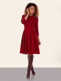 Crepe Midi Dress Red | Yumi