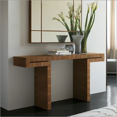 Contemporary console tables are essential to design pieces in any modern interior, a modern console table is a bright addition to a living or dining room. Ikea Console Table, Console Furniture, Narrow Console Table, Entryway Console, Furniture Design Images, Office Furniture Design, Modern Sofa Table, Modern Console Tables, Minimalist Room