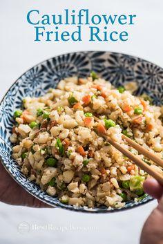 How to make cauliflower fried rice? Easy cauliflower fried rice recipe and healthy fried rice cauliflower recipe . It& a quick healthy cauliflower recipe Healthy Fried Rice, Healthy Rice Recipes, Vegetable Recipes, Vegetarian Recipes, Cooking Recipes, Veggie Food, Best Cauliflower Recipe, Cauliflower Fried Rice, Vegetable Side Dishes