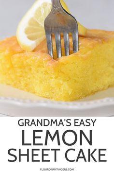 How to make the best lemon sheet cake with a simple powdered sugar glaze hands down my family s favorite lemon cake recipe using a cake mix and instant pudding flouronmyfingers lemoncake sheetcake easyrecipes dessertrecipes lemon buttercream frosting Poke Cake Recipes, Sheet Cake Recipes, Dessert Simple, Lemon Pudding Cake, Lemon Pudding Recipes, Pudding Cake Mix, Salty Cake, Food Cakes, Savoury Cake