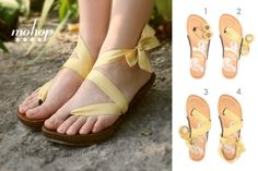 """Thong Styling Card: Low Walnut handsculpted Bespoke heel styled with 7/8"""" yellow ribbon"""