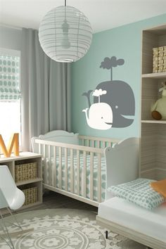 Create a beautiful ambiance for your baby's nursery room with our Baby Whales wall decal! Make your baby smile and shop today.