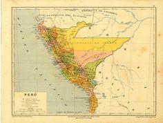 1899  Antique Map of Peru Political Division