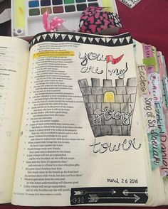 Proverbs 18:10 The name of the Lord is a strong tower; the righteous man runs into it and is safe. #biblejournaling #illustratedfaith #biblejournalingcommunity #strongtower #bibleart #bibledoodles #icolorinmybible http://ift.tt/1KAavV3