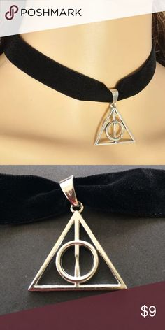 "Harry Potter Deathly Hallows chocker necklace Brand new. Choker is approx. 12"" with 3"" extender. Pendant is approx. 1"".‼️Please ❌trade and ❌ offers. Price is firm unless bundled.‼️ Elegant Jewelry Jewelry Necklaces"