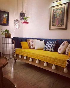 Ishita's Fusion Indian Home in Delhi - dress your home - best interior design. Home Decor Furniture, Home Decor Bedroom, Diy Room Decor, Living Room Decor, Indian Room Decor, Ethnic Home Decor, Indian Decoration, Colourful Living Room, Indian Living Rooms