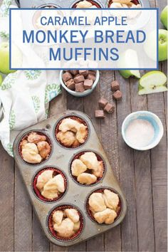 These Caramel Apple Monkey Bread Muffins are a bite-size dessert recipe that you can take with you on the go. Combine store-bought buttermilk biscuits with green apples, brown sugar, cinnamon, and chocolate peanut candy bars. Use a muffin tin when making this tasty fall treat for an simple kitchen hack that makes it easier for you to clean up.
