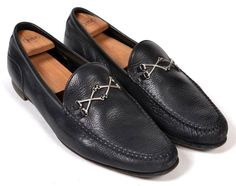 BARKER BLACK Classic Cross Bone Detail Mens Loafer Shoes - UK 12 / US 13 #BarkerBlack #LoafersSlipOns