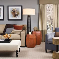 Color combo:  grey-blue, black, caramel-rust, sage-tan. Love these colors. Our furniture is caramel-rust, walls are tan and accents are grey-blue