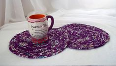 Quilted Place Mats  Handmade Purple Trivets by WexfordTreasures