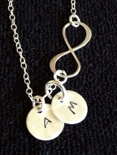 Infinity Necklace with Hand Stamped Initial by dotsofsugar on Etsy