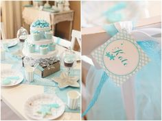 Mermaid Birthday Party. Seashell decor, starfish accessories, teal and white color scheme, and tons of dress up fun for your little one.