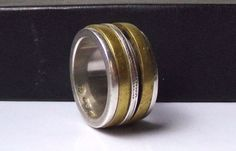 Mens Sterling Silver Spinner Ring Spin Band Mixed Metal Designer SN Unisex #Unknown #Spinner